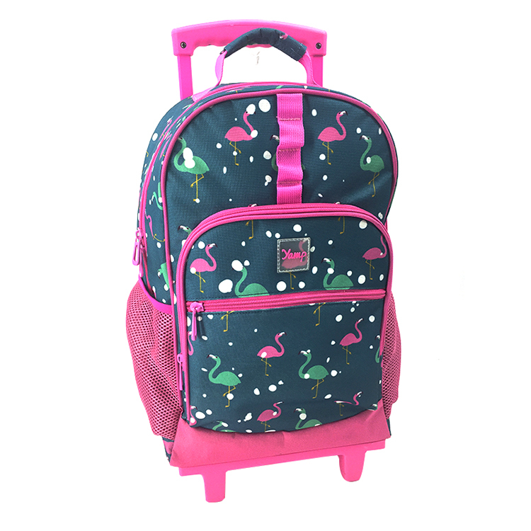 Full Print Backpack Primary School Bag with Wheels for Kids